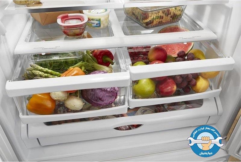 نکات مهم هنگام خرید کشو و طبقات داخلی یخچال فریزر و یخچال ساید بای ساید